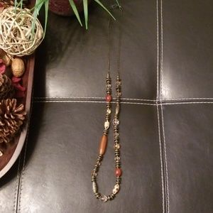 Jewelry - Bronze/Antique Gold Long Beaded Necklace